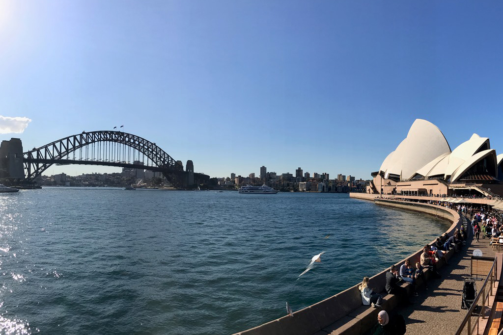 Sydney Harbour Bridge and Opera House Circular Quay walk